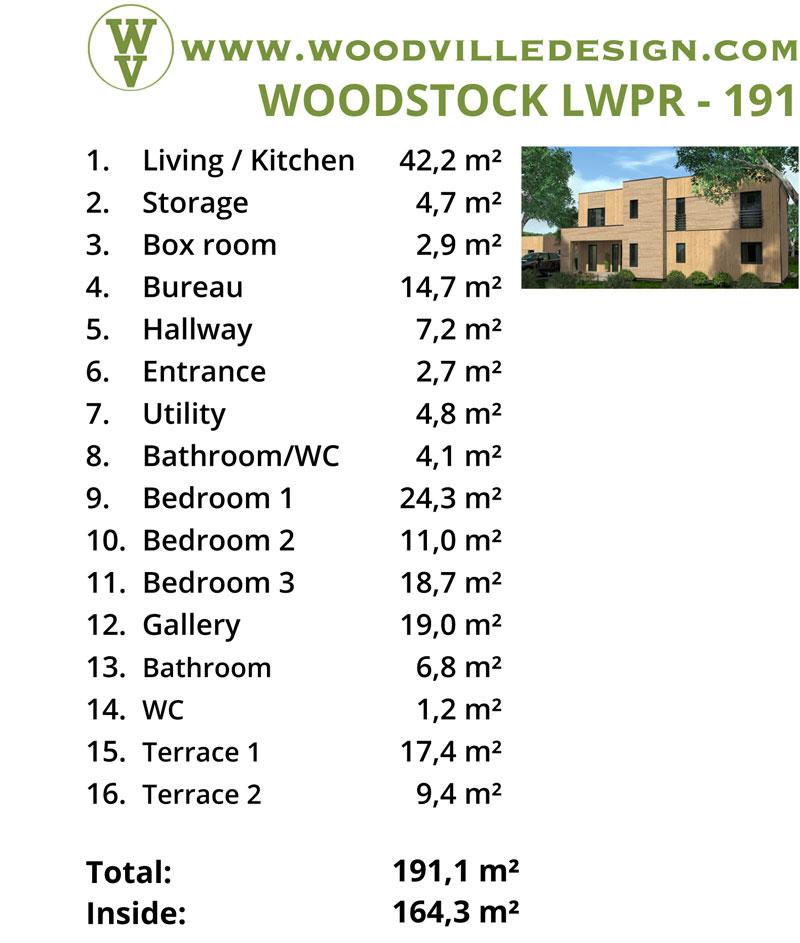 WoodVille Design WoodPanel WOODSTOCK 191M2 kenmerken