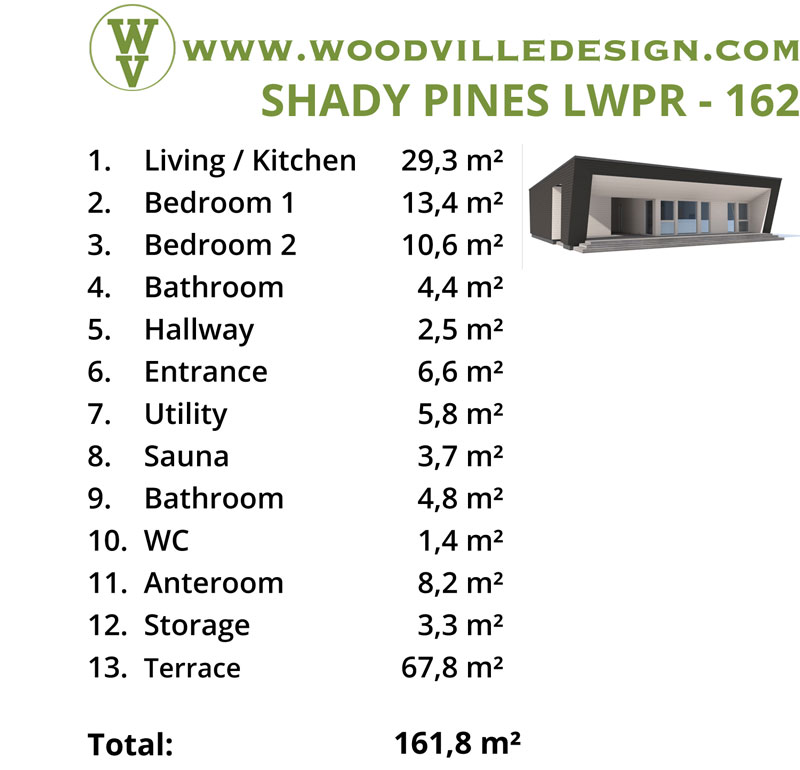 WoodVille Design WoodPanel SHADYPINES 162M2 kenmerken