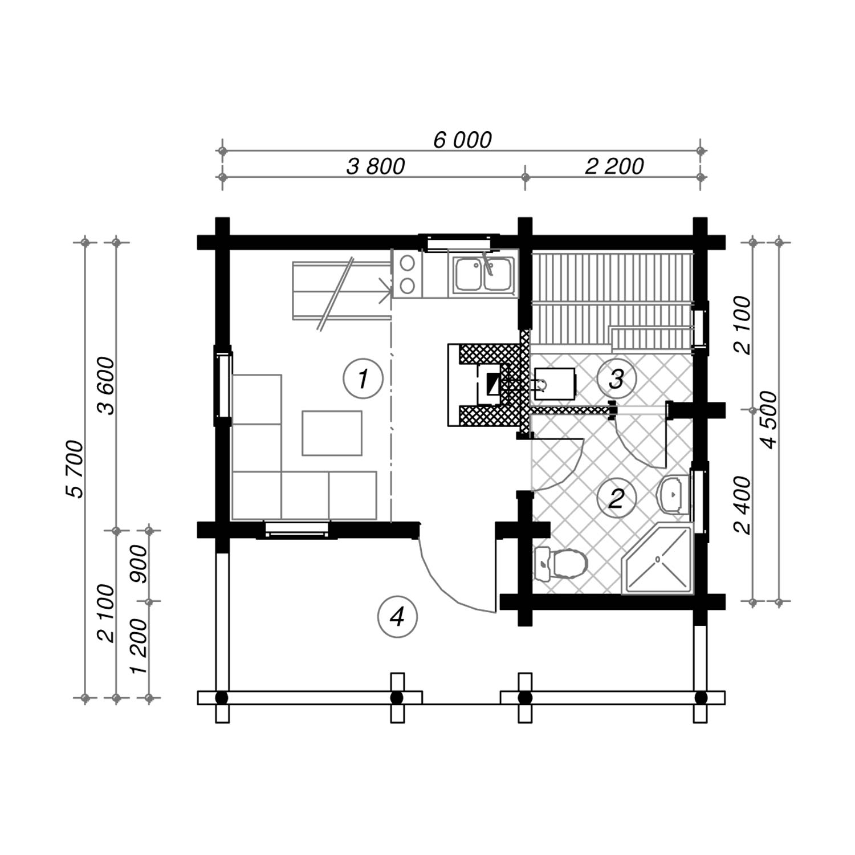 WoodVille Design Blokhut CARIBOO 54b Grondplan