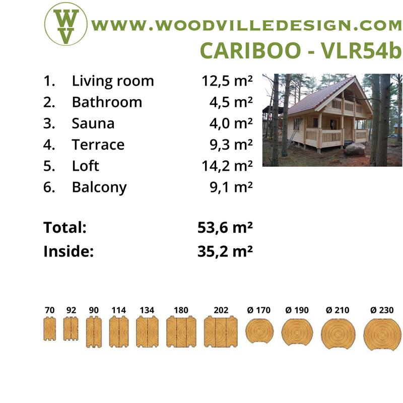 WoodVille Design Blokhut CARIBOO 54b kenmerken
