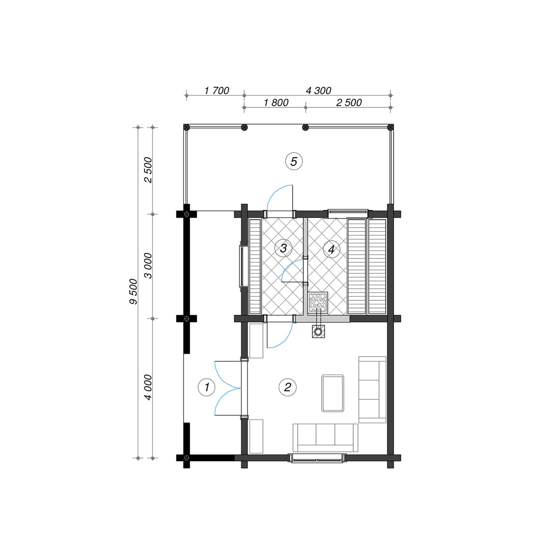 WoodVille Design Blokhut FROZANOVA 52M2 Grondplan