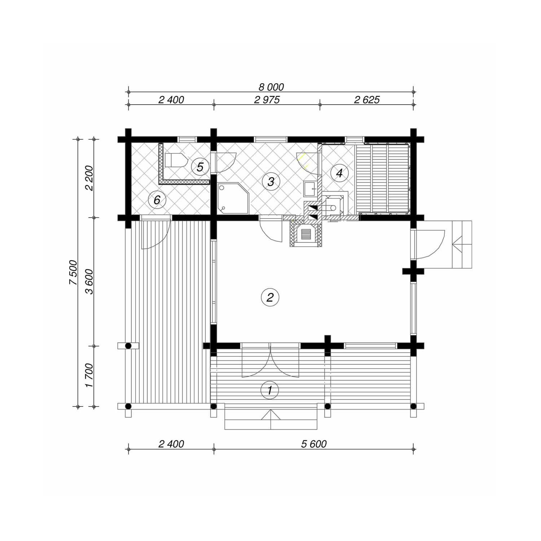 WoodVille Design Blokhut FROZANOVA 54M2 Grondplan