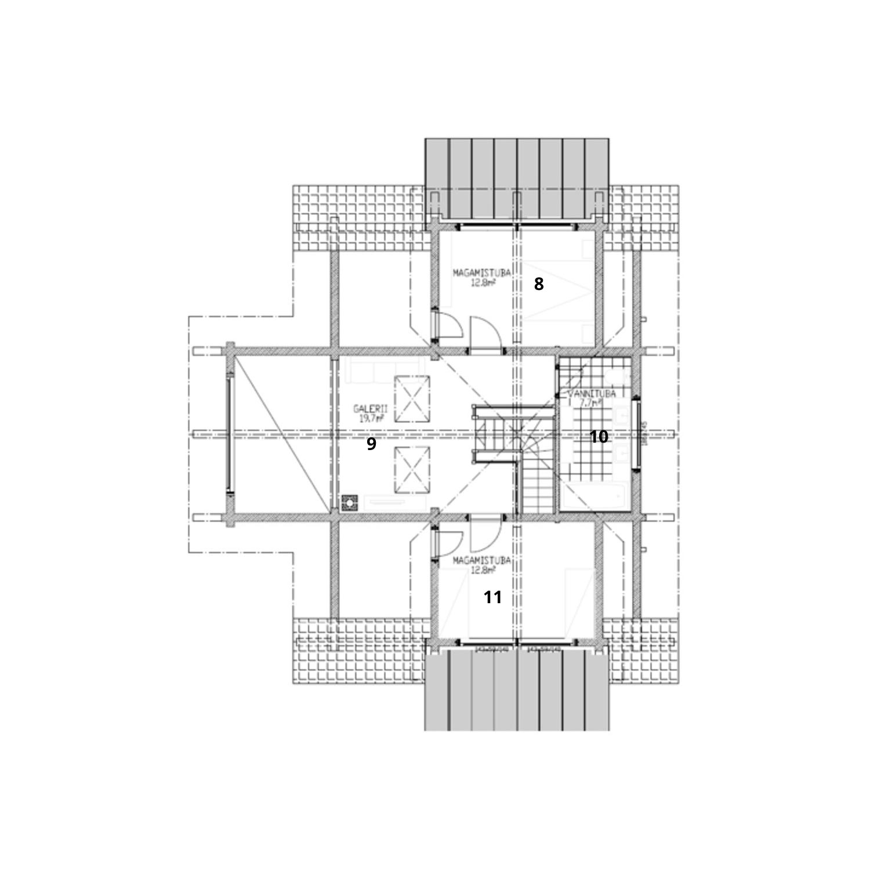 WoodVille Design Blokhut GREENFIELD 144M2 Grondplan