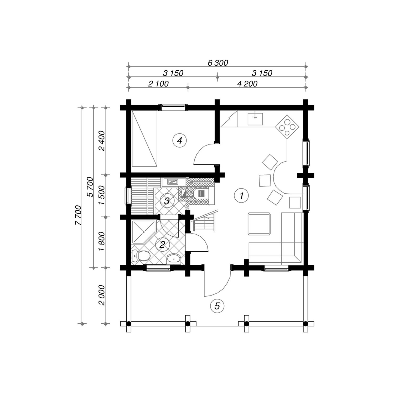 WoodVille Design Blokhut HAWKSNEST 80M2 Grondplan
