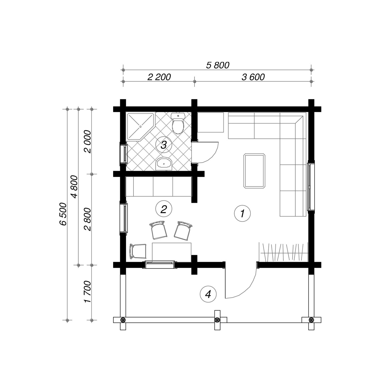 WoodVille Design Blokhut LITTLECOTE 34M2 Grondplan