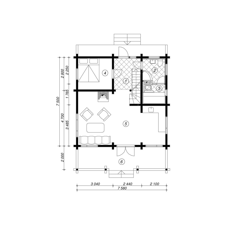 WoodVille Design Blokhut MtBLANC 114M2 Grondplan