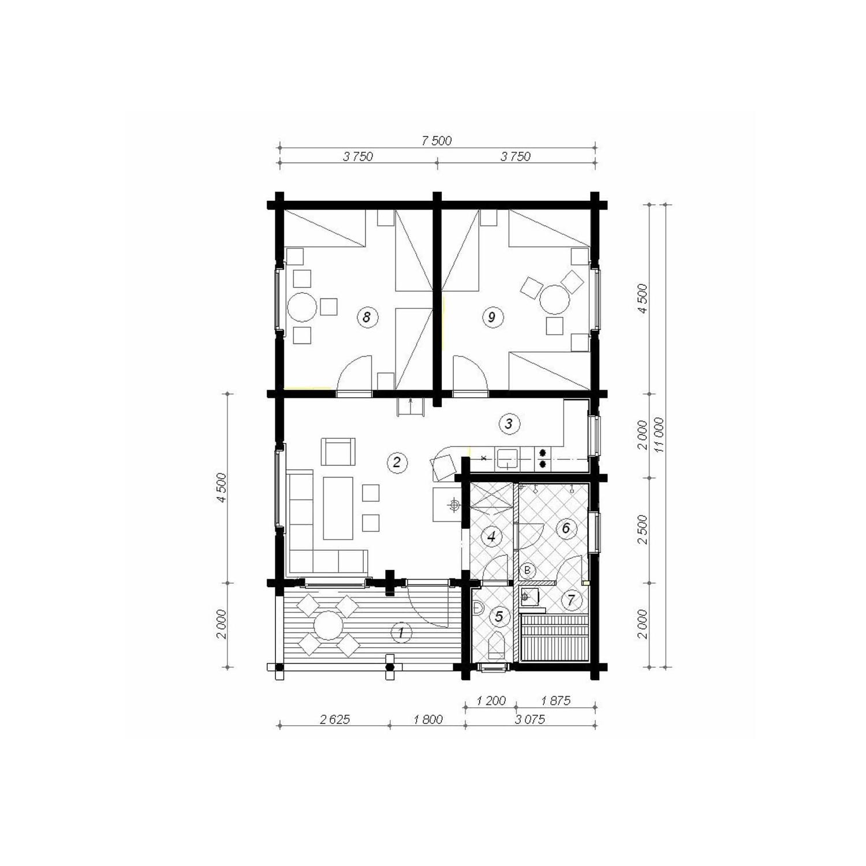 WoodVille Design Blokhut MtMONASHEE 73M2 Grondplan