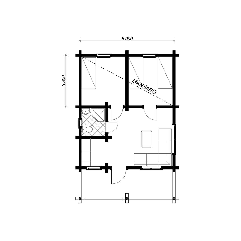 WoodVille Design Blokhut MtNIMBA 50M2 Grondplan