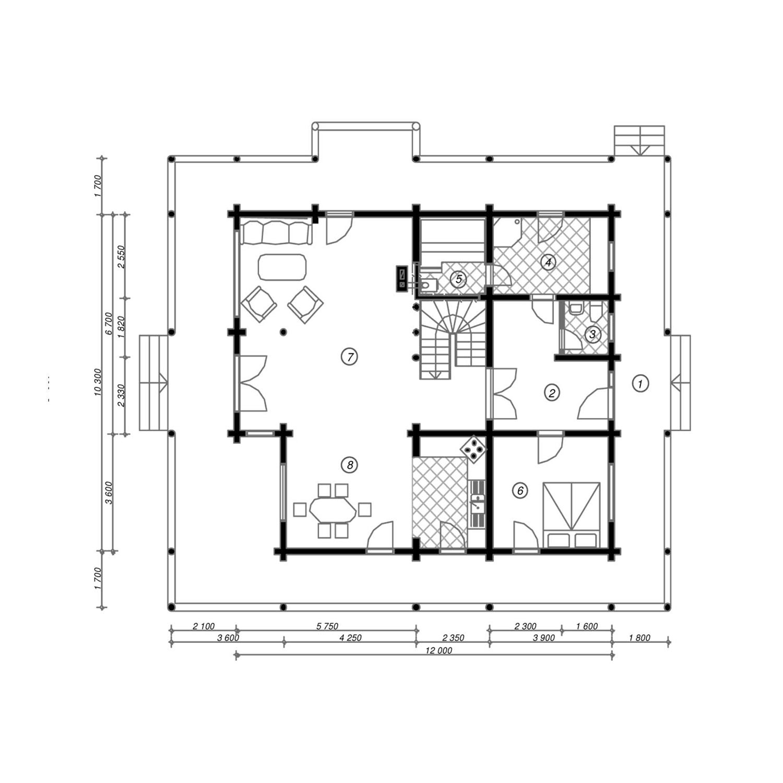 WoodVille Design Blokhut MtOLYMPUS 291M2 Grondplan