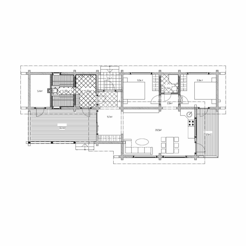 WoodVille Design Blokhut RIVERRUN 82M2 Grondplan