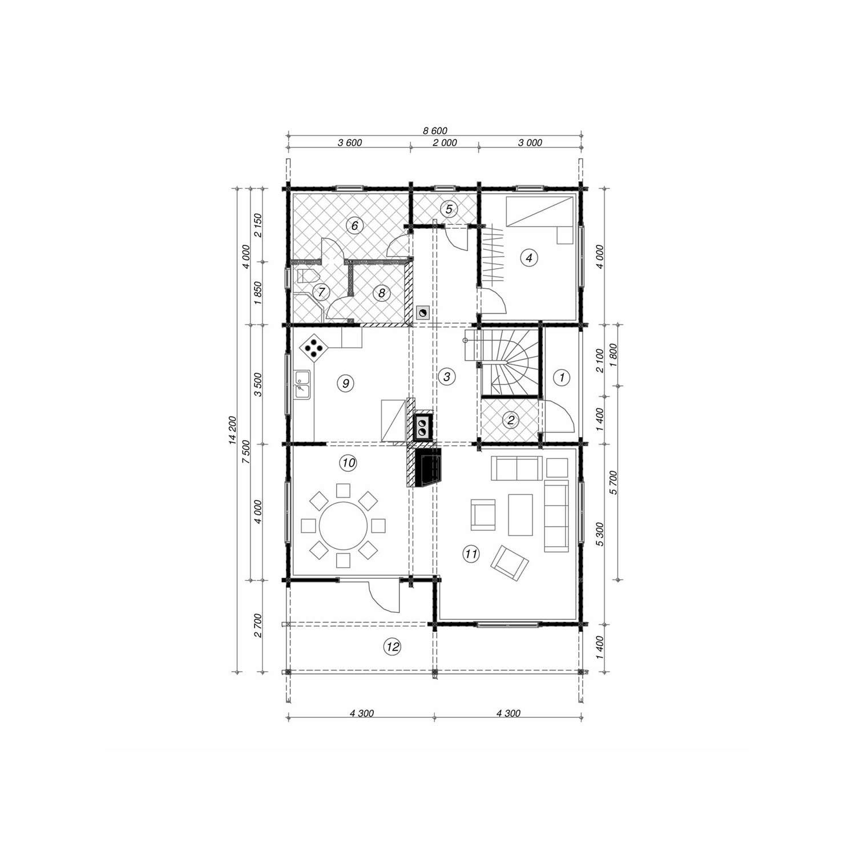 WoodVille Design Blokhut WOODLAND 168M2 Grondplan