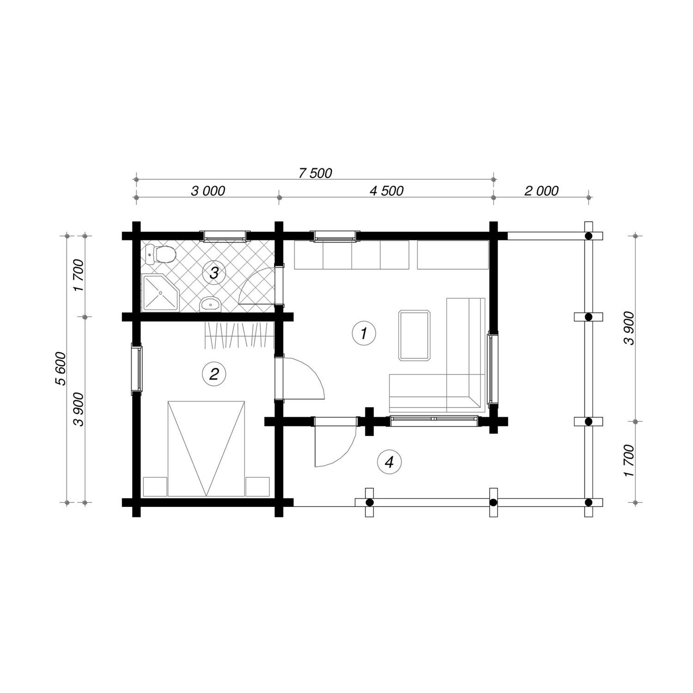 WoodVille Design Blokhut WOODPECKER 48M2 Grondplan