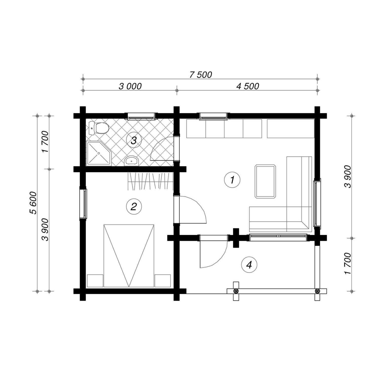 WoodVille Design Blokhut WOODSPOT 38M2 Grondplan